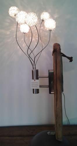 """""""Pissenlit"""" - Lampe de table - Bois et Inox (mod 5)"""