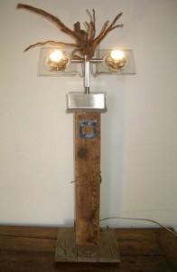 """""""Regard"""" - lampadaire bois et inox- design 2014 - (mod 9)"""