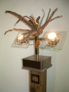 """""""Regard"""" - lampadaire bois et inox- design 2014 (mod 9)"""